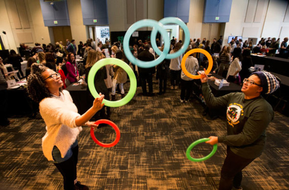 Student jugglers entertained attendees of the GO THERE campaign kickoff at the Student Life Center. (Joe Howell/Vanderbilt)