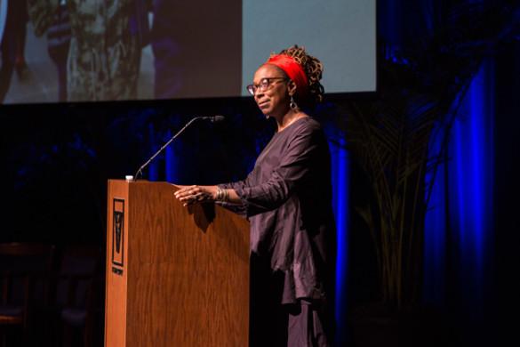 Kimberlé Crenshaw delivered the 2017 MLK Commemorative Series keynote address in Langford Auditorium Jan. 16. (Anne Rayner/Vanderbilt)
