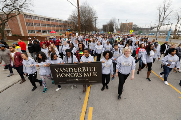 Provost and Vice Chancellor for Academic Affairs Susan R. Wente marches with Vanderbilt students Jan. 16. (John Russell/Vanderbilt)