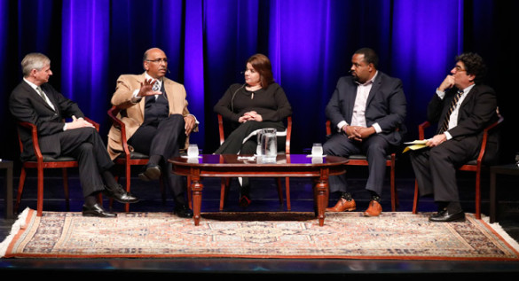 The Jan. 17 Chancellor's Lecture featured (l-r) Vanderbilt Distinguished Visiting Professor Jon Meacham, former RNC Chair Michael Steele, Republican strategist Ana Navarro, former faith adviser to President Obama Joshua DuBois and Chancellor Nicholas S. Zeppos. (John Russell/Vanderbilt)