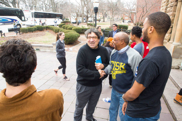 Chancellor Nicholas S. Zeppos greets Fisk University Interim President Frank Sims and students at the 2017 MLK Joint Day of Service. (Susan Urmy/Vanderbilt)