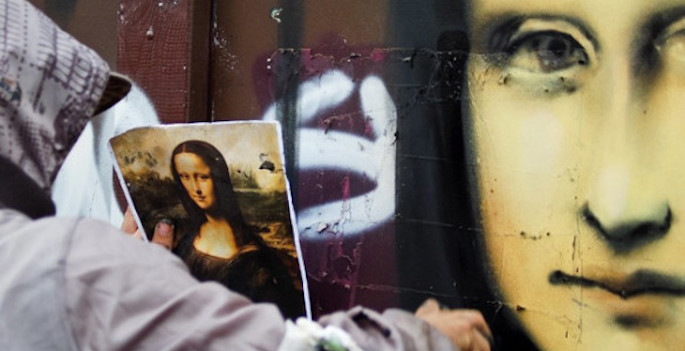 spray paint version of mona lisa