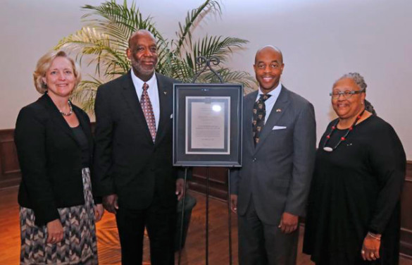 L-r: Vanderbilt Provost Susan R. Wente, Forrest Harris, honoree Harold M. Love Jr. and Dean Emilie Townes. (Steve Green/Vanderbilt)