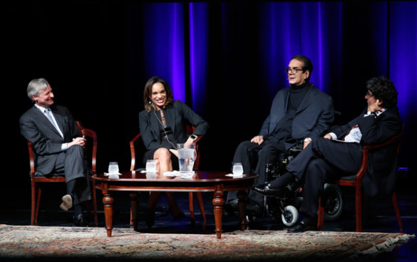 L-r: Distinguished Visiting Professor Jon Meacham, CNN's Nia-Malika Henderson, Fox News' Charles Krauthammer and Chancellor Nicholas S. Zeppos discussed the outcome of the 2016 presidential election in Langford Auditorium Nov. 15. (John Russell/Vanderbilt)