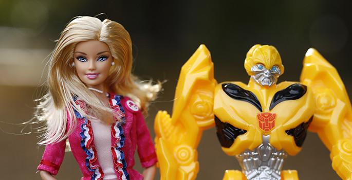 barbie and transformer studio photo