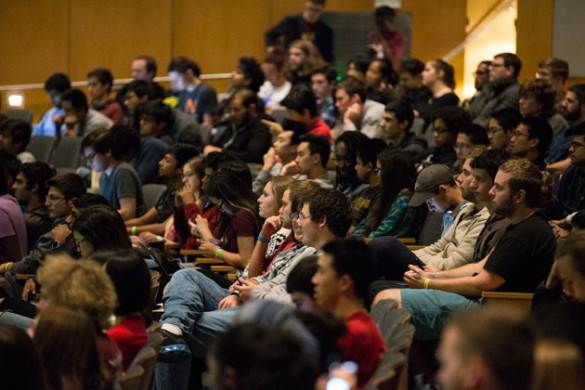 Rothschild spoke to about 450 participants, volunteers and supporters at VandyHacks, a 36-hour hackathon drawing participants from across the Southeast to the Wond'ry Nov. 11. (Joe Howell/Vanderbilt)