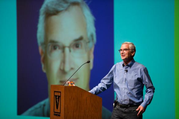 Jeff Rothschild delivered the opening keynote address at the third annual VandyHacks event. (Joe Howell/Vanderbilt)