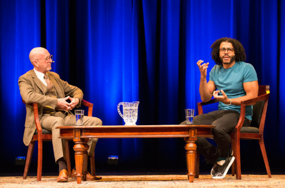 Associate Professor of Musicology James Lovensheimer moderated a discussion with Tony Award-winner Daveed Diggs at Langford Auditorium Nov. 9. (Joe Howell/Vanderbilt)