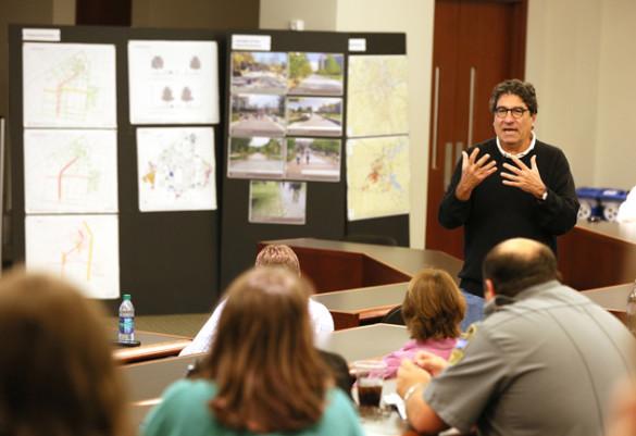 Chancellor Nicholas S. Zeppos addresses Vanderbilt community members at a town hall meeting discussing FutureVU Oct. 28. (Vanderbilt University)