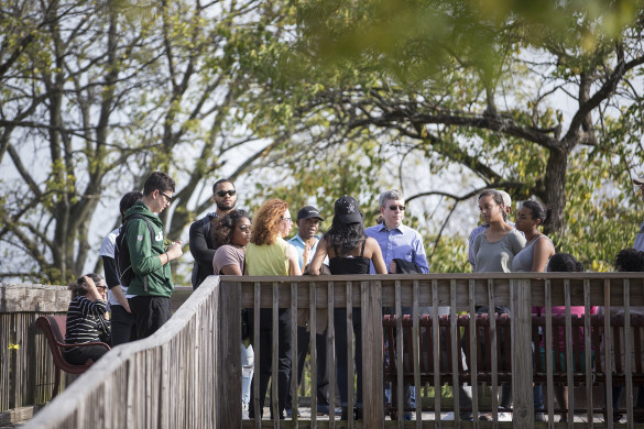 Students in the University Course Historic Black Nashville site visit to Fort Negley Oct. 26. (Joe Howell / Vanderbilt)