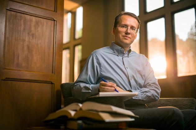 Mattias K. Polborn was photographed at the Jean and Alexander Heard Library. (Daniel Dubois/Vanderbilt)