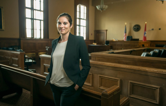 Sara Mayeux was photographed in the Metro Courthouse's Third Circuit Courtroom. (Daniel Dubois/Vanderbilt)