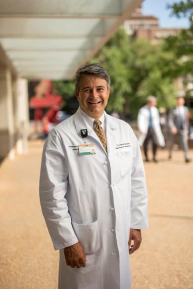Ronald Alvarez was photographed at Vanderbilt University Medical Center Plaza. (John Russell/Vanderbilt)