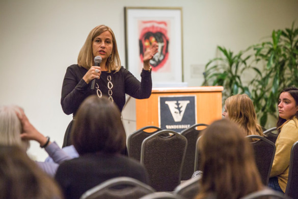 Nashville Mayor Megan Barry spoke at the Student Life Center Oct. 10. (Anne Rayner/Vanderbilt)