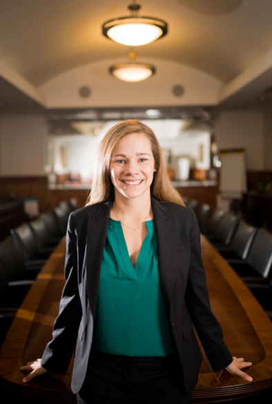 Megan Lawrence was photographed at the Owen Graduate School of Management. (Susan Urmy/Vanderbilt)