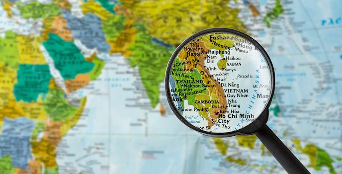 Map of Socialist Republic of Vietnam through magnifying glass