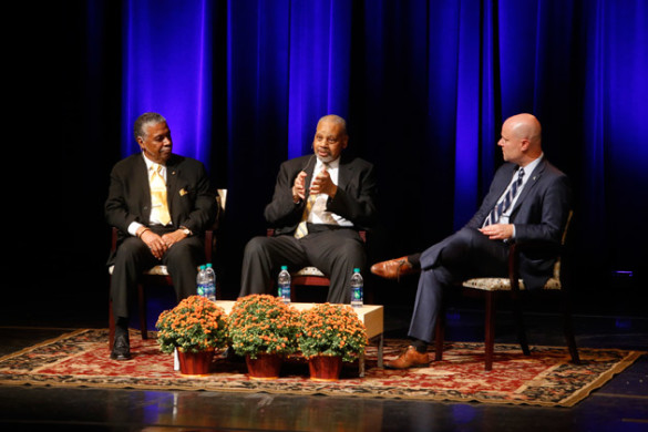 Vanderbilt alumni Godfrey Dillard (left) and Perry Wallace (center) discussed their experiences as young African American students on the Vanderbilt campus in the late-1960s with author Andrew Maraniss (right) during the 2016 Lawson Lectures in Langford Auditorium Sept. 27. (Steve Green/Vanderbilt)