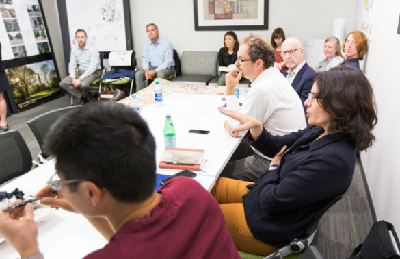 The Sept. 22 Faculty Advisory Committee meeting was an opportunity for faculty to learn more about the FutureVU process to date and to provide input and ask questions about preliminary ideas with university leadership and Pelli Clarke Pelli Architects. (John Russell/Vanderbilt)