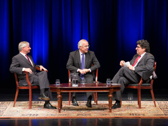 """New York Times"" columnist David Brooks (center) was the featured guest at a Chancellor's Lecture Series event hosted by Chancellor Nicholas S. Zeppos (right) and Distinguished Visiting Professor Jon Meacham (left) Sept. 22. (Susan Urmy/Vanderbilt)"