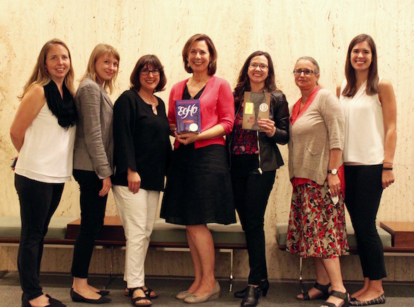 The winning authors of the Americas Awards, joined by the award committee (l-r): co-coordinator Denise Woltering Vargas of Tulane University, committeewoman Paula Mason, committeewoman Denise Croker, author Pam Muñoz Ryan, author Ashley Hope Pérez, committeewoman Laura Kleinmann and co-cordinator Lisa Finelli of Vanderbilt University.