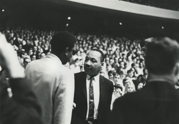 Stokely Carmichael greets Martin Luther King, Jr. at the 1967 Impact Symposium. (Courtesy of Vanderbilt University Special Collections and University Archives)