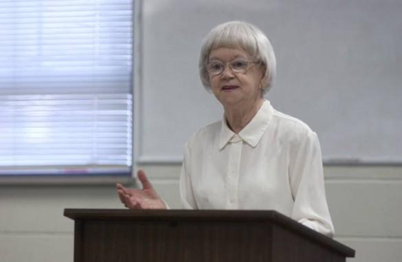 Jane Barr returned to Vanderbilt Divinity School to lecture in 2004. (Daniel Dubois/Vanderbilt)
