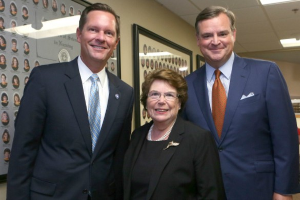 From left: Rep. Cameron Sexton; VUSN Dean Linda Norman, Valere Potter Menefee Professor of Nursing; and VU Assistant Vice Chancellor for State Government Relations Nathan Green following a panel discussion on Aug. 30. (Anne Rayner/Vanderbilt)