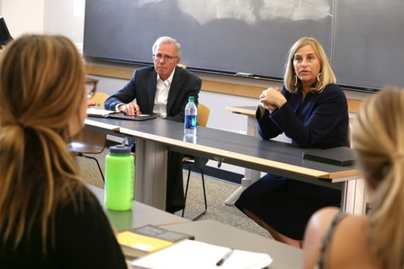 Nashville Mayor Megan Barry and former Mayor Bill Purcell, adjunct professor of public policy. (Anne Rayner/Vanderbilt)