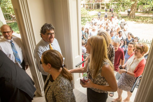 Chancellor Nicholas S. Zeppos greets guests at the grand opening of the Center for Student Wellbeing Aug. 31. (John Russell/Vanderbilt)