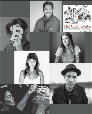 "The Curb Center exhibition ""Transformations"" highlights a selection of portraits of Nashville's creative professionals. Top left, Brett Warren; top middle, Ash Wright; top right, Curb house, (A. Blackman); middle left, Andrea Behrends; middle right, Danielle Atkins; bottom left, Chris Widick Photography; bottom right, Allister Ann."