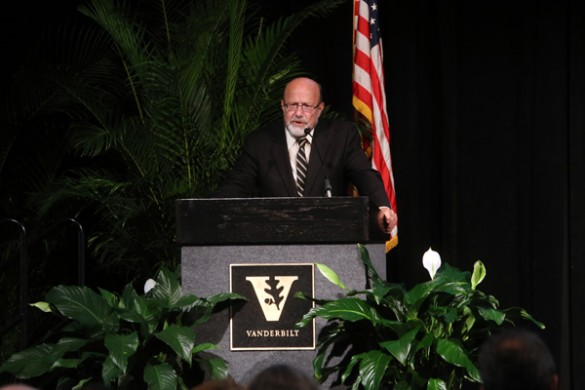 "K. Arthur Overholser, senior associate dean of the School of Engineering and professor of biomedical engineering and chemical engineering, opened the 2016 Fall Faculty Assembly with his presentation ""Vanderbilt, 1961-2016."" (Steve Green/Vanderbilt)"