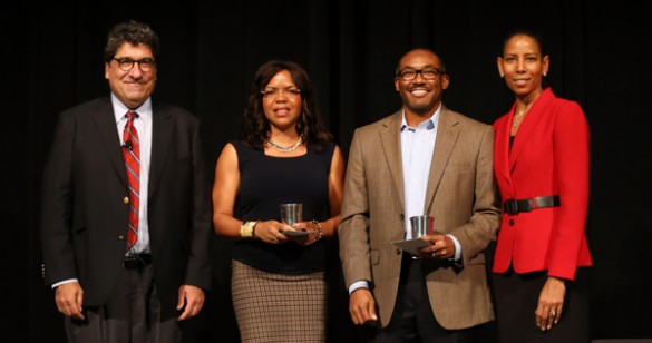 Chancellor Nicholas S. Zeppos, Ebony McGee, William Robinson and Charlene Dewey. (Steve Green/Vanderbilt)