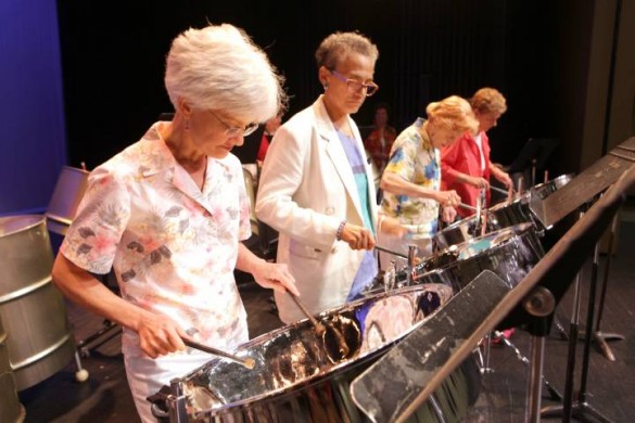 The Osher Steel Drum Band is a popular class taught by Mat Britain at the Blair School of Music (Anne Rayner / Vanderbilt)