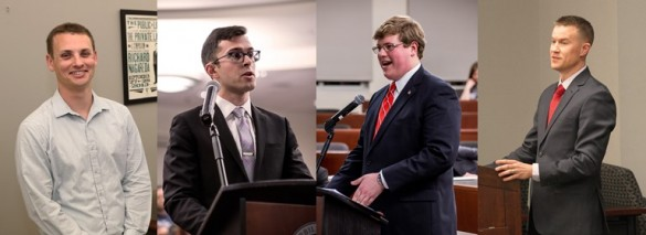 composite of four students arguing in court