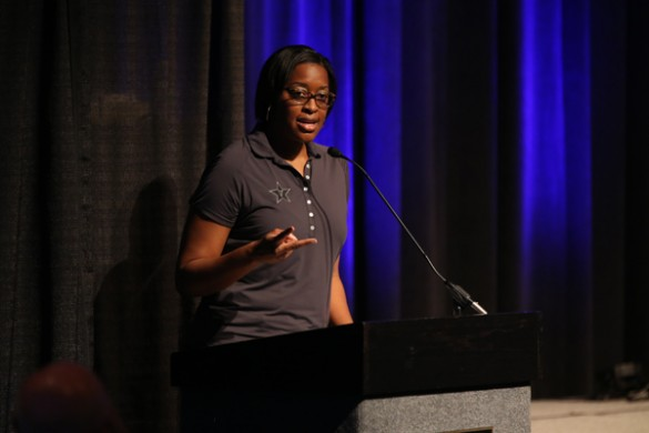 Associate Vice Chancellor for University Affairs and Deputy Athletic Director Candice Story Lee at the Coach Forum July 21. (John Russell/Vanderbilt)