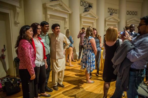 Humphrey Fellowship Program International Fellows gather with their Friendship Families. (Vanderbilt University)
