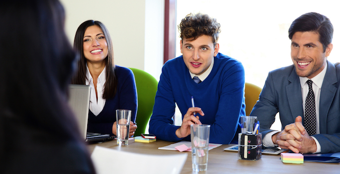 young employees in meeting