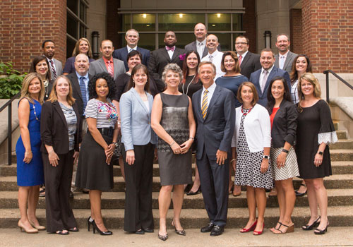 The GASL cohort posed for a photo with Peabody Dean Camilla Benbow (front, center), TN Governor Bill Haslam (on the dean's left) and TN Education Commissioner Candice McQueen (on the dean's right). Anne Rayner/Vanderbilt
