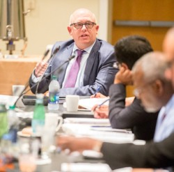 Vice Provost of Academic and Strategic Affairs John Geer spoke on behalf of the provost's office to the Visiting Advisory Board for Diversity and Equity. (Joe Howell/Vanderbilt)