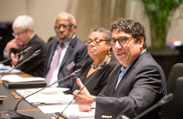 Chancellor Nicholas S. Zeppos addressed members of the Visiting Advisory Board for Diversity and Equity and Vanderbilt's Diversity, Inclusion and Community Committee who met for a daylong session on campus June 10. (Joe Howell/Vanderbilt)