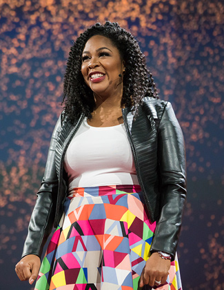 Jedidah Isler delivering a TED talk. (Bret Hartman / TED)
