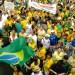 protestors waving brazilian flags