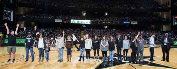 The Next Students were honored by Vice Chancellor David Williams at the Vanderbilt-Kentucky game Feb. 28. (Joe Howell/Vanderbilt)