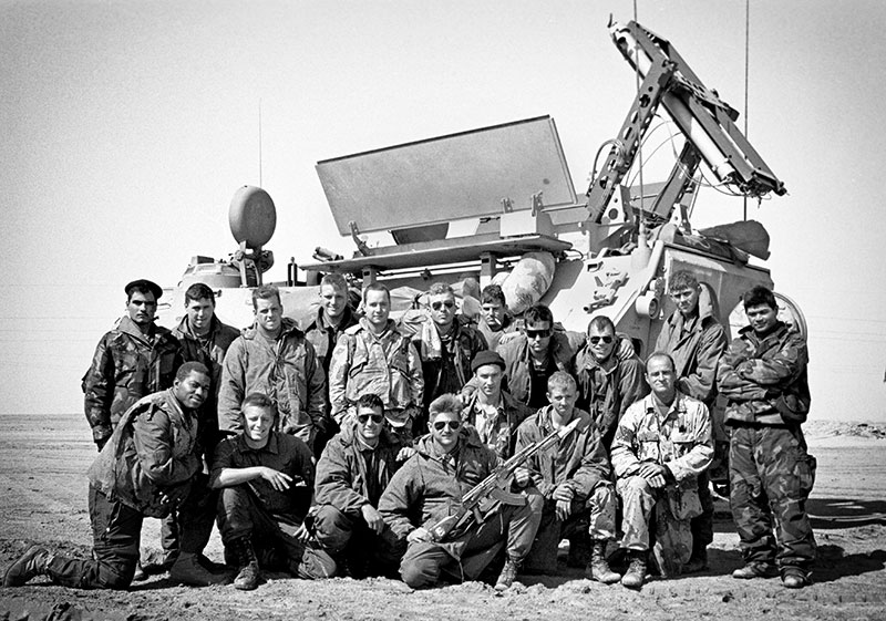Vanderbilt photographer Joe Howell (front row, second from left) and his fellow Marines were part of the initial breaching teams that cleared minefields along the Kuwaiti border. (Photo by Joe Howell)