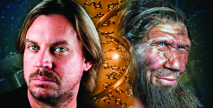 portraits of neanderthal and modern man