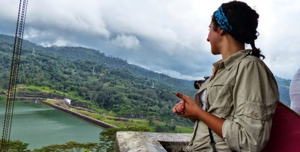 debra looking at dam and reservoir
