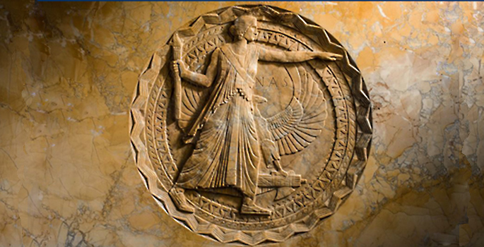 National Academy of Sciences seal carved into marble