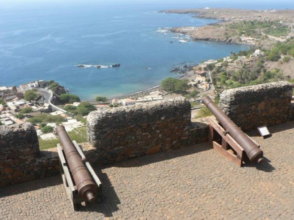 cannons on Caribbean fort overlooking beach