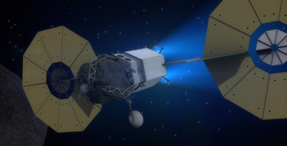 satellite flying close to asteroid