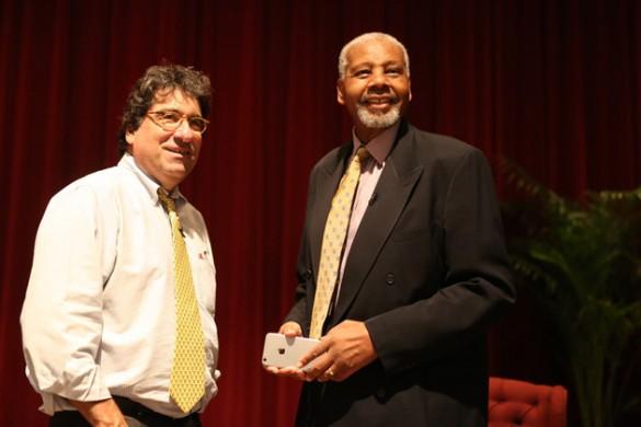 Chancellor Nicholas S. Zeppos (left) and Perry Wallace. (Vanderbilt University)